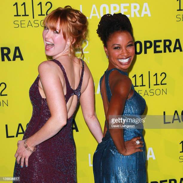 Actresses Alicia Witt and Shanola Hampton attend LA Opera's White Night season opening gala premiere of Eugene Onegin at the Dorothy Chandler...