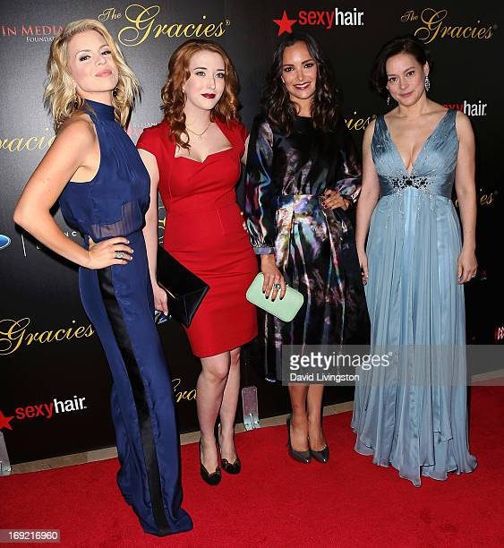 Actresses Alie Liebert Charlotte Hegele Jodi Balfour and Meg Tilly attend the 38th Annual Gracie Awards Gala at The Beverly Hilton Hotel on May 21...