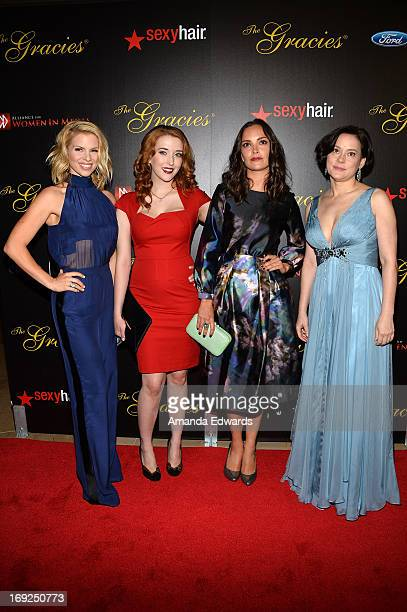 Actresses Alie Liebert Charlotte Hegele Jodi Balfour and Meg Tilly arrive at the 38th Annual Gracie Awards Gala at The Beverly Hilton Hotel on May 21...