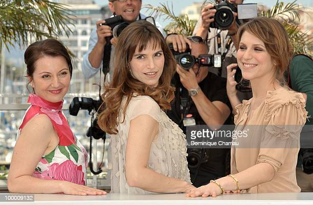 Actresses Alina Berzenteanu Stefania Montorsi and Isabella Ragonese attend the 'Our Life' Photo Call held at the Palais des Festivals during the 63rd...