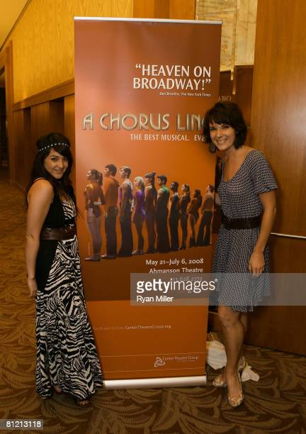 Actresses Alisan Porter and Chryssie Whitehead alumni of the 2007 revival of A Chorus Linempose at the opening night performance of A Chorus Line at...