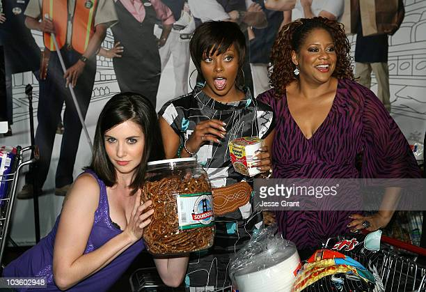 Actresses Alison Brie Eva Marcille and Kim Coles attend the 10 Items or Less Bagging Contest during The Comedy Festival 2008 presented by TBS at...