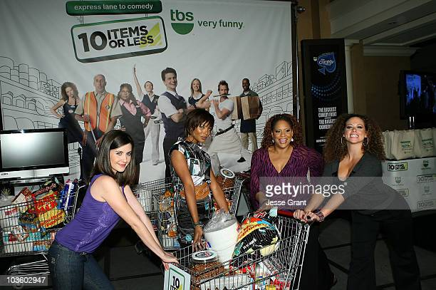 Actresses Alison Brie Eva Marcille Kim Coles and Roberta Valderrama attend the 10 Items or Less Bagging Contest during The Comedy Festival 2008...