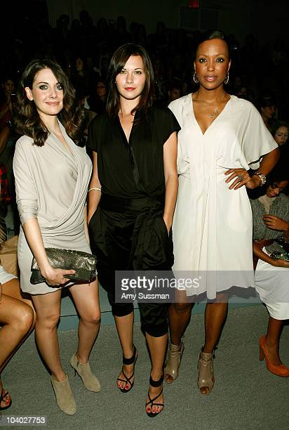 Actresses Alison Brie Jill Flint and Aisha Tyler attends the Max Azria Spring 2011 fashion show during MercedesBenz Fashion Week at The Stage at...