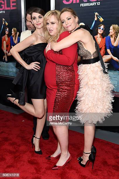 Actresses Alison Brie Rebel Wilson and Leslie Mann attend the New York premiere of 'How To Be Single' at the NYU Skirball Center on February 3 2016...