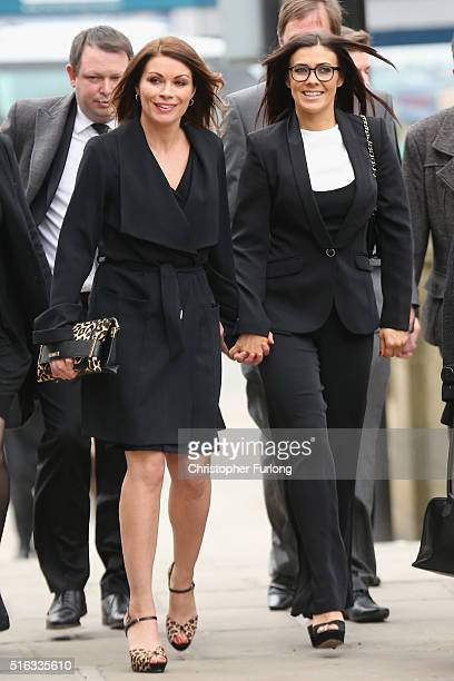 Actresses Alison King and Kym Marsh arrive for the funeral of Coronation Street scriptwriter Tony Warren at Manchester Cathedral on March 18 2016 in...