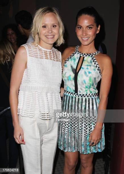 Actresses Alison Pill and Olivia Munn attend HBO's The Newsroom screening and panel at the Academy of Television Arts Sciences on June 13 2013 in...