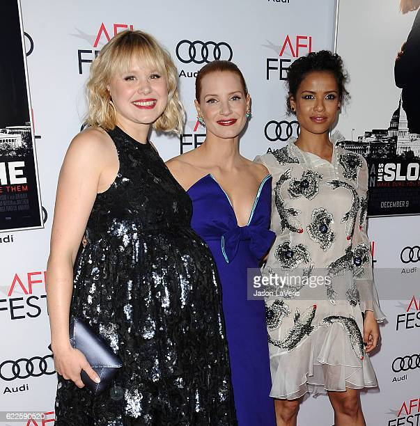 Actresses Alison Pill Jessica Chastain and Gugu MbathaRaw attend the premiere of 'Miss Sloane' at the 2016 AFI Fest at TCL Chinese 6 Theatres on...
