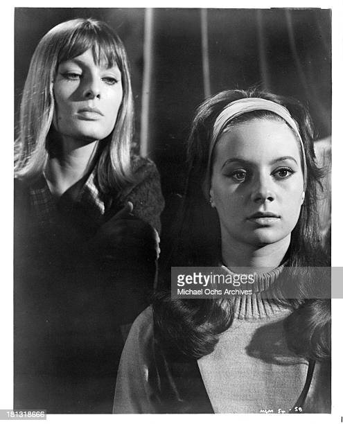 Actresses Alison Seebohm and Francesca Annis on the set of the movie Murder Most Foul in 1964