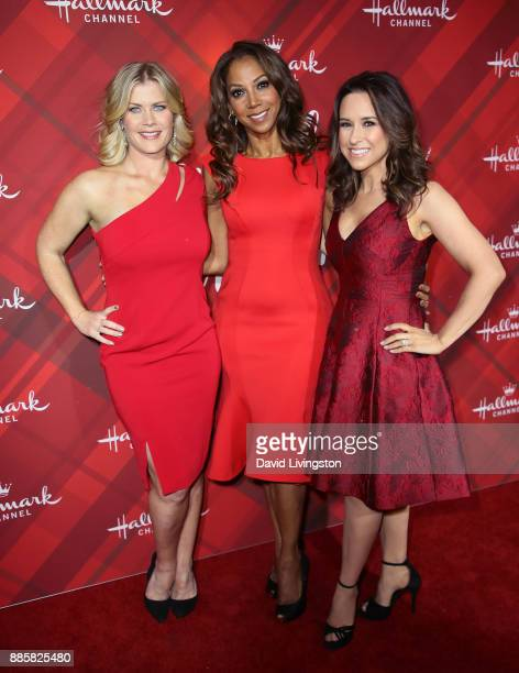 Actresses Alison Sweeney Holly Robinson Peete and Lacey Chabert attend a screening of Hallmark Channel's 'Christmas at Holly Lodge' at The Grove on...