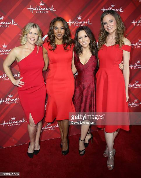"Actresses Alison Sweeney, Holly Robinson Peete, Lacey Chabert and Rachel Boston attend a screening of Hallmark Channel's ""Christmas at Holly Lodge""..."