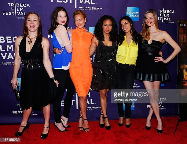 Actresses Allene Quincy Rachel Nichols Zoe Bell Tracie Thoms Rosario Dawson and Nicole Steinwedell attend the Raze world premiere during the 2013...