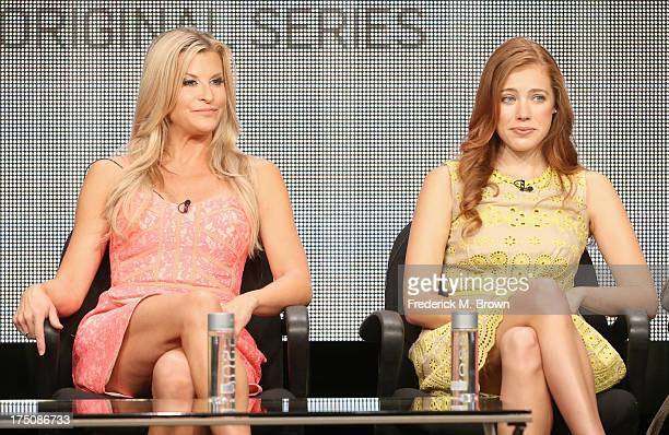 Actresses Allison Dunbar and Alexia Dox speak onstage during the 'Quick Draw' portion of the Hulu 2013 Summer TCA Tour at The Beverly Hilton on July...