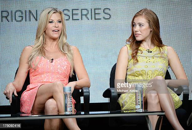 Actresses Allison Dunbar and Alexia Dox speak onstage during the 'Quick Draw' portion of the Hulu 2013 Summer TCA Tour at The Beverly Hilton Hotel on...
