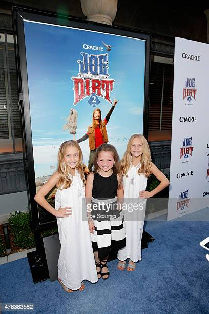 Actresses Allison Gobuzzi Chloe Guidry and Lauren Gobuzzi attend the world premiere of Crackle's Joe Dirt 2 Beautiful Loser at Sony Pictures Studios...