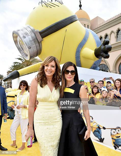 Actresses Allison Janney and Sandra Bullock arrive at the premiere of Universal Pictures and Illumination Entertainment's 'Minions' at the Shrine...