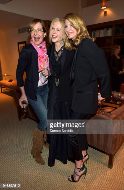Actresses Allison Janney Nicole Kidman and host Laura Dern attend InStyle and Brahmin's Badass Women Dinner on April 14 2018 in West Hollywood...