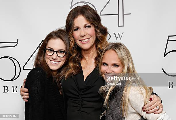 Actresses Allison Williams and Kristin Chenoweth pose with actress/ singer Rita Wilson backstage following her performance at 54 Below on April 17...