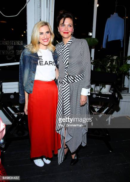 Actresses Allison Williams and Maggie Gyllenhaal attend the BE BOLD FOR CHANGE panel event in celebration of International Women's Day hosted by keds...