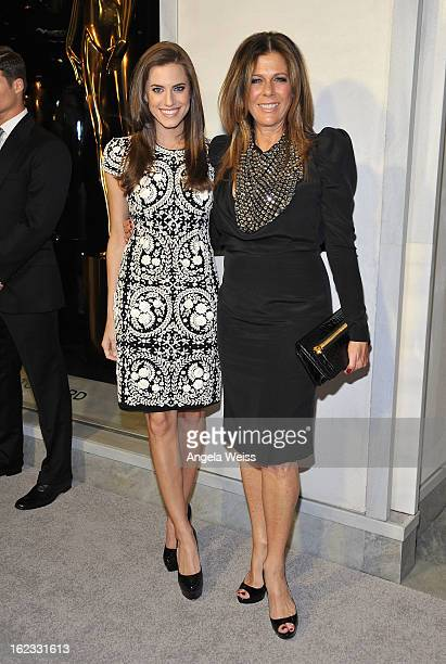 Actresses Allison Williams and Rita Wilson attend Tom Ford's cocktail event in support of Project Angel Food at TOM FORD on February 21 2013 in...