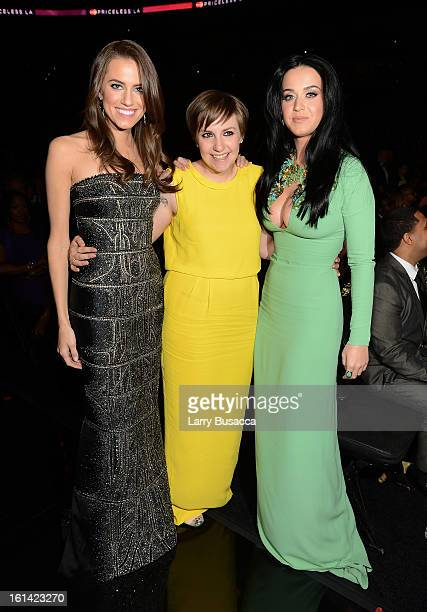 Actresses Allison Williams Lena Dunham and singer Katy Perry attend the 55th Annual GRAMMY Awards at STAPLES Center on February 10 2013 in Los...
