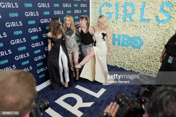 Actresses Allison Williams Zosia Mamet Lena Dunham and Jemima Kirke attend the New York Premiere of the Sixth Final Season of 'Girls' at Alice Tully...