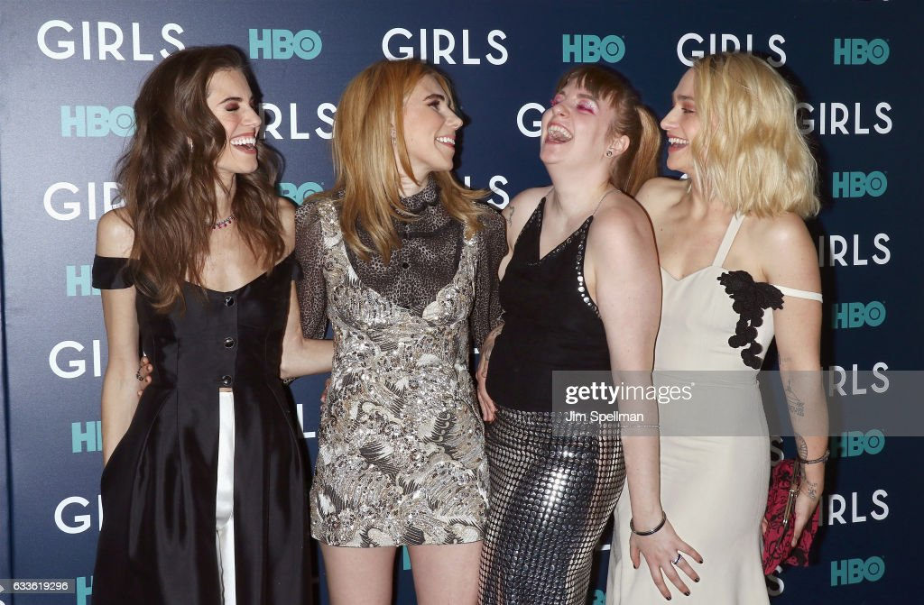 Actresses Allison Williams, Zosia Mamet, Lena Dunham and Jemima Kirke attend the the New York premiere of the sixth and final season of 'Girls' at Alice Tully Hall, Lincoln Center on February 2, 2017 in New York City.