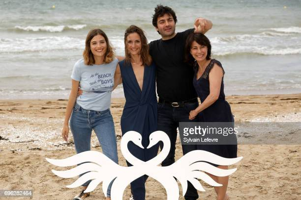 Actresses Alma Jodorowsky Maryline Canto and Camille Chamoux and director Ilan Klipper attend 'le ciel etoile audessus de ma tete' photocall during...