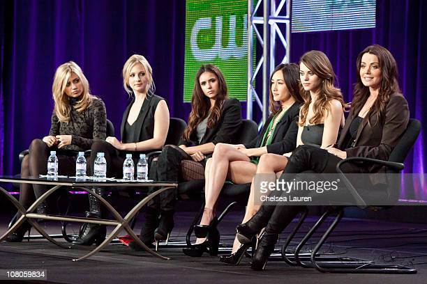 Actresses Aly Michalka Candice Accola Nina Dobrev Maggie Q Lyndsy Fonseca and Erica Durance speak at the 2011 CW Winter TCA Panel at The Langham...