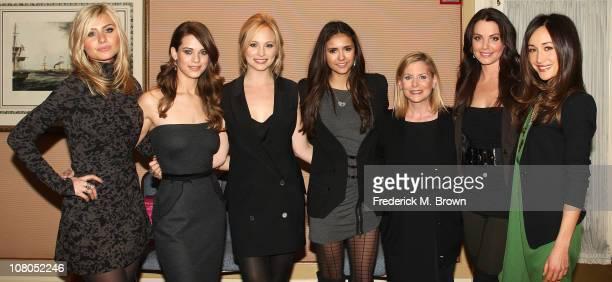 Actresses Aly Michalka Lyndsy Fonseca Candice Accola Nina Dobrev Dawn Ostroff President of Entertainment The CW and actresses Erica Durance and...