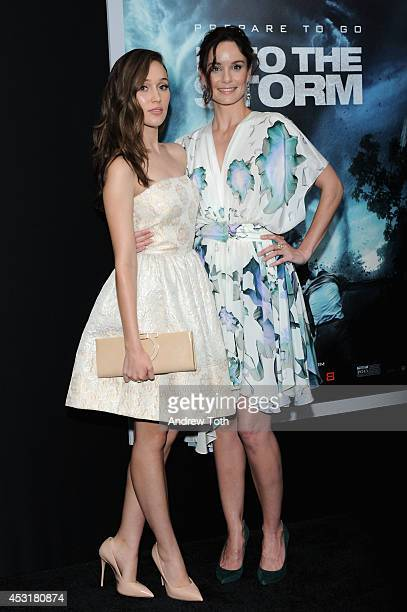 Actresses Alycia Debnam Carey and Sarah Wayne Callies attend the 'Into The Storm' premiere at AMC Lincoln Square Theater on August 4 2014 in New York...