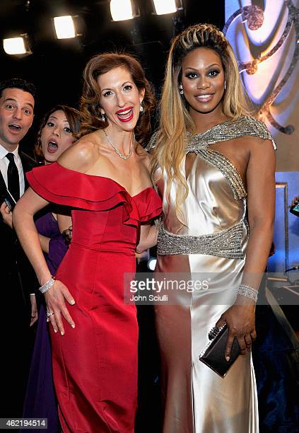 Actresses Alysia Reiner and Laverne Cox attend TNT's 21st Annual Screen Actors Guild Awards at The Shrine Auditorium on January 25 2015 in Los...