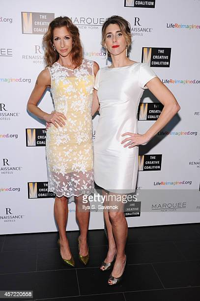 Actresses Alysia Reiner and Sarah Megan Thomas attend the Creative Coalition's spotlight awards dinner gala at Marquee on October 14 2014 in New York...