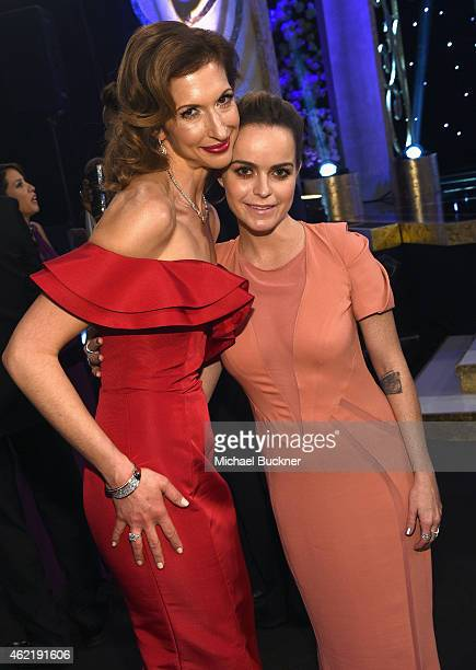 Actresses Alysia Reiner and Taryn Manning attend TNT's 21st Annual Screen Actors Guild Awards cocktail reception at The Shrine Auditorium on January...