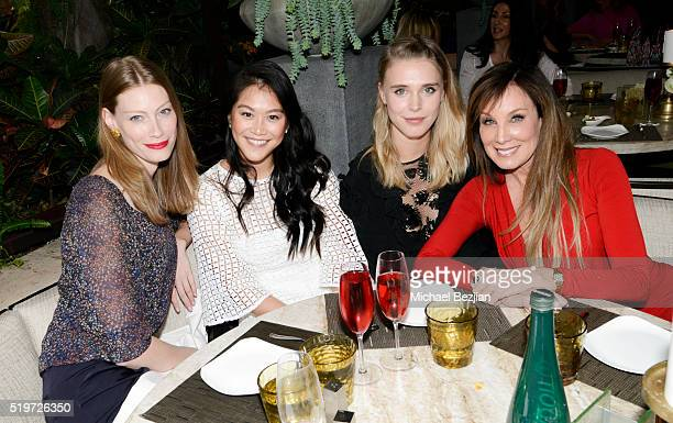 Actresses Alyssa Sutherland Dianne Doan Gaia Weiss and film producer Cindy Cowan at Empowered Brunch With Cindy Cowan at Four Seasons Hotel Los...