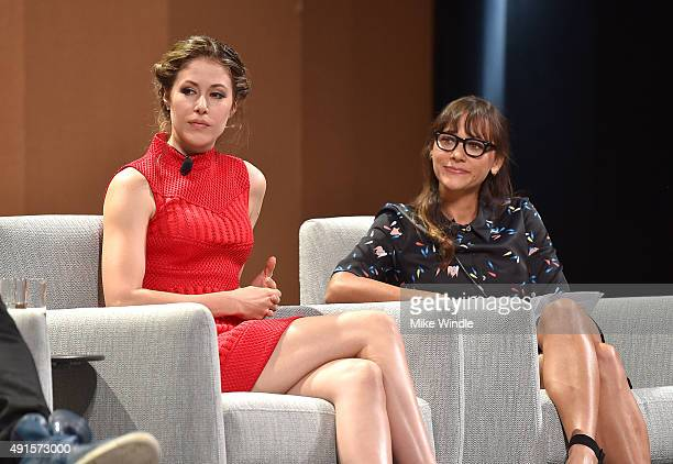 """Actresses Amanda Crew and Rashida Jones speak onstage during """"Silicon Valley Vs. Silicon Valley—Inside HBO's Hit Show"""" at the Vanity Fair New..."""