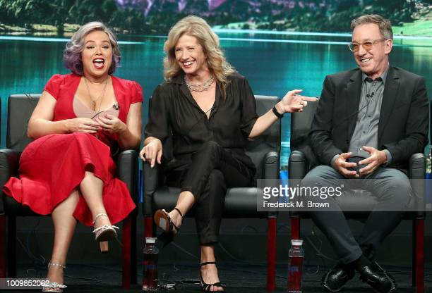 Actresses Amanda Fuller and Nancy Travis and actor Tim Allen of the television show 'Last Man Standing' speak during the FOX segment of the Summer...