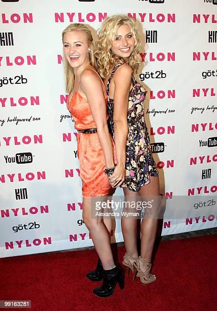 Actresses Amanda Michalka and Alyson Michalka arrive at NYLON'S May Young Hollywood Event at Roosevelt Hotel on May 12 2010 in Hollywood California