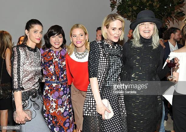 Actresses Amanda Peet Selma Blair Elizabeth Banks Sarah Paulson all wearing Bottega Veneta and Diane Keaton attend the Hammer Museum Gala in Garden...