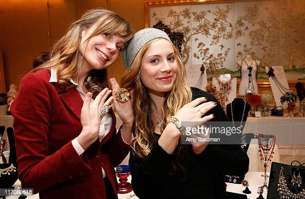 Actresses Amanda Walsh and Julia Voth wear jewelry from Vintagebling the Oh Canada Gift Suite at Peninsula Hotel on January 15 2010 in Beverly Hills...