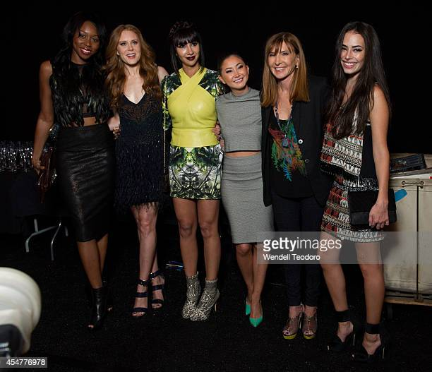 Actresses Amanda Warren Christiane Seidel Jackie Cruz Kimiko Glenn designer Nicole Miller and Chloe Bridges pose backstage before the Nicole Miller...