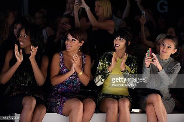 Actresses Amanda Warren Selenis Leyva Jackie Cruz and Kimiko Glenn attend the Nicole Miller show during MercedesBenz Fashion Week Spring 2015 at The...