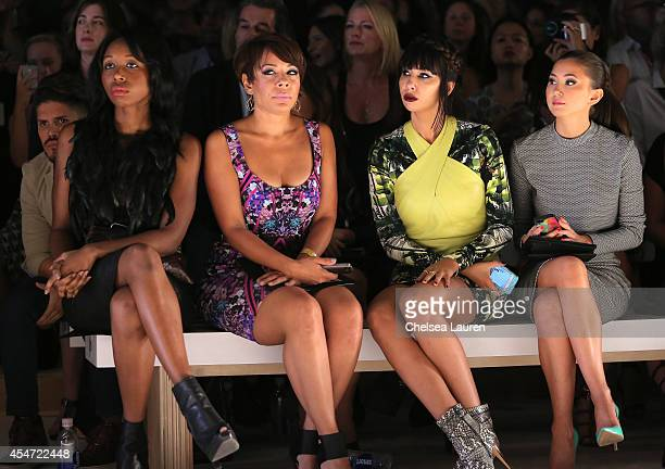 Actresses Amanda Warren Selenis Leyva Jackie Cruz Kimiko Glenn attend the Nicole Miller fashion show during MercedesBenz Fashion Week Spring 2015 at...