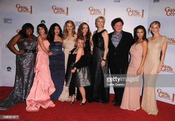 Actresses Amber Riley, Lea Michele, Jenna Ushkowitz, Dianna Agron, Robin Trocki, Jayma Mays, Jane Lynch, Dot-Marie Jones, Naya Rivera and Heather...