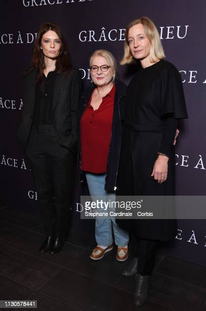 Actresses Amelie Daure Josiane Balasko and Aurelia Petit attend the 'Grace A Dieu' Premiere at Mk2 Bibliotheque on February 18 2019 in Paris France