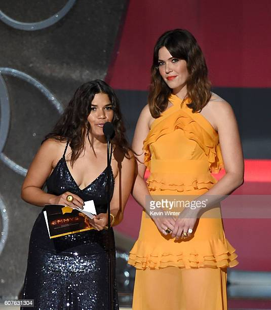 Actresses America Ferrera and Mandy Moore speak onstage during the 68th Annual Primetime Emmy Awards at Microsoft Theater on September 18, 2016 in...