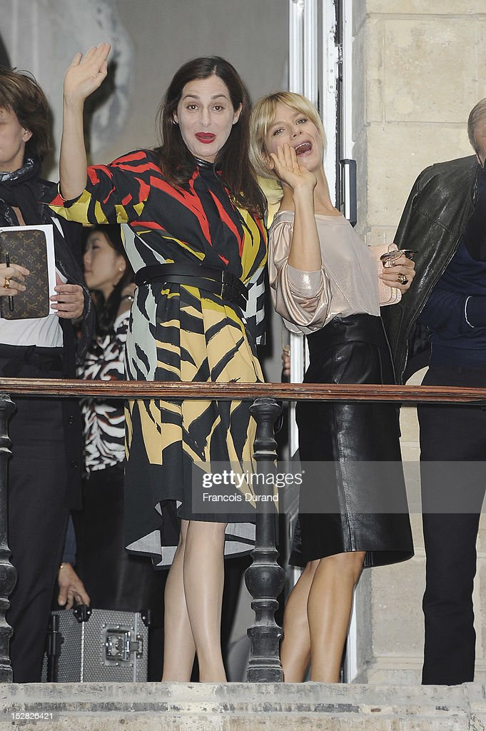 Actresses Amira Casar (L) and Marina Fois (R) arrive at the Balmain Spring / Summer 2013 show as part of Paris Fashion Week at Grand Hotel Intercontinental on September 27, 2012 in Paris, France.