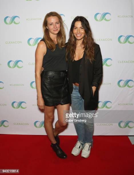 Actresses Amy Acker and Sarah Shahi attend the Cocktails for Change fundraiser hosted by ClexaCon to benefit Cyndi Lauper's True Colors Fund at the...