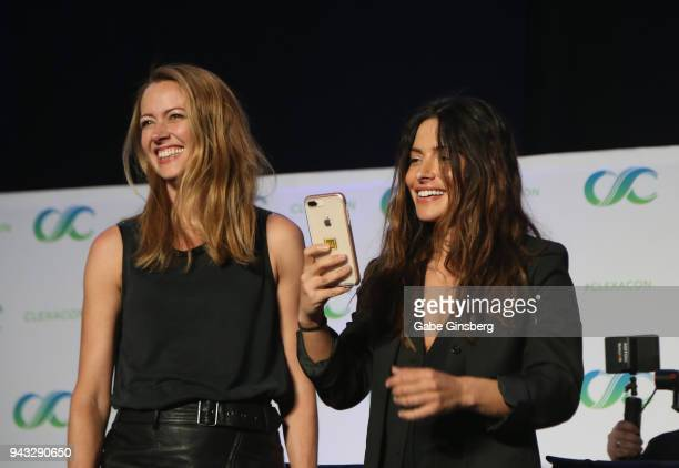 Actresses Amy Acker and Sarah Shahi speak at the 'Shoot Reunion' panel during the ClexaCon 2018 convention at the Tropicana Las Vegas on April 7 2018...
