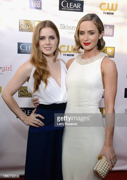 Actresses Amy Adams and Emily Blunt attend the 18th Annual Critics' Choice Movie Awards held at Barker Hangar on January 10 2013 in Santa Monica...